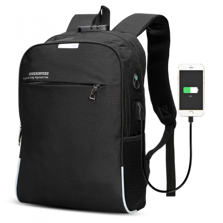 Business leisure USB Charging whit password lock Bag Night Reflection Anti-theft Travel Backpack BLACK