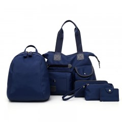 Five Sets of Cloth Grain Lash Bag Handbag BLUE