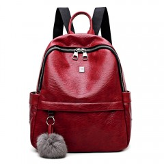 Women Backpack Fuzzy Ball Teenager Girls Female Zi RED WINE