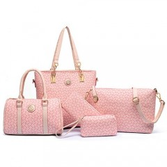 Cathy Women Fashion PU leather Geometric Tote portable Handbag 5Pc Set Crossbody bag Shoulder Bags PINK