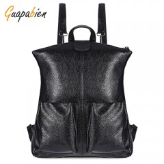 Guapabien Bright PU Leather Slot Pockets Backpack