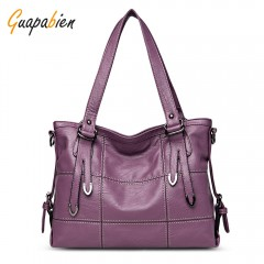 Guapabien Women Solid PU Leather Shoulder Tote Bag PURPLE