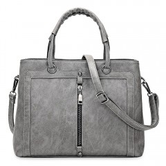 Cathy High quality Fashion Elegant PU Leather Handbags Women Zipper large capacity Leisure Tote Bag GRAY