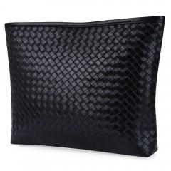 Weave Solid Color Zipper Horizontal Clutch Bag for BLACK HORIZONTAL