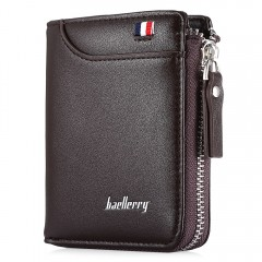 Baellerry Men Wallet Short Section Soft PU Leisure COFFEE