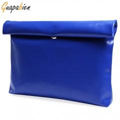 Guapabien Solid Color Zipper Hasp Clutch Bag for W SAPPHIRE BLUE