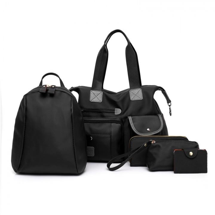 Five Sets of Cloth Grain Lash Bag Handbag BLACK