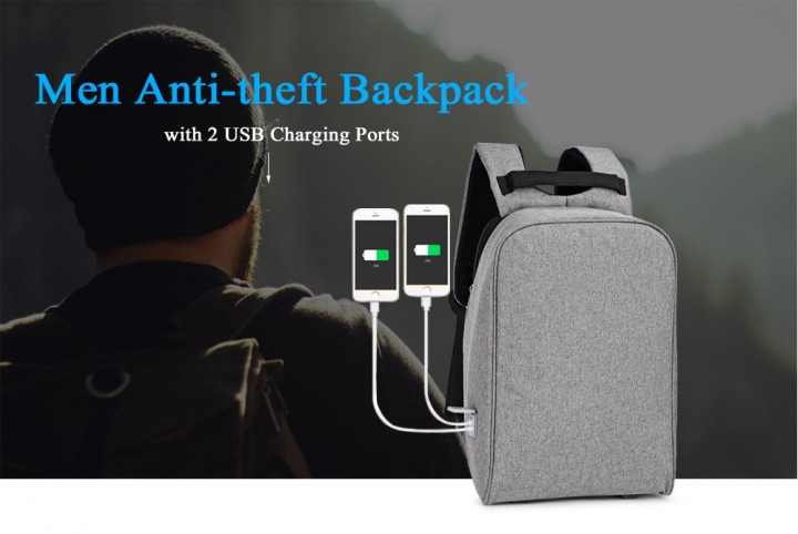 Men Business Anti-theft Male Large Capacity Backpack with 2 USB Charging Ports