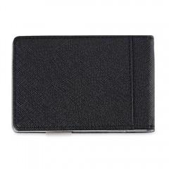 Unisex Open Horizontal PU Leather Short Hard Money GRAY VERTICAL