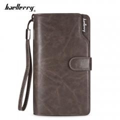 Baellerry PU Leather Long Wallet Men Business Clut DARK GRAY