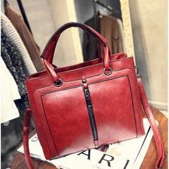 Guapabien Fashion Elegant Faux Leather Women Tote Bag Handbag Casual Handbag Casual Shoulder Bag wine red 30*11*23CM