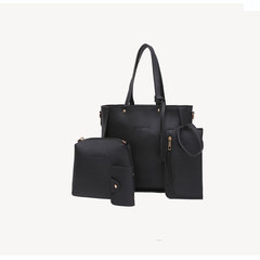 European and American solid color PU four-piece tassel shoulder bag black one size