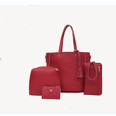 Cathy 2019 tide fashion solid color Women's four-piece Handbag tassel slung PU single shoulder bag red one size