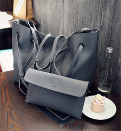 Women's Fashion Bag PU Bag Lychee Pattern Handbag Large Capacity Shoulder Diagonal Package gray 2pcs