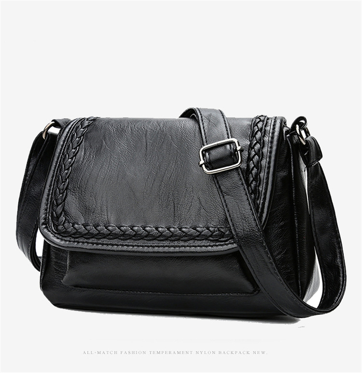 2018 New  Arrival Diagonal Cross Bag Ladies Shoulder Bag Wholesale PU wave soft Leather Handbag black 25*8*17CM