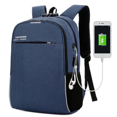 019 New multi-function men's backpack Korean version of the wild outdoor leisure business bag blue 16inch