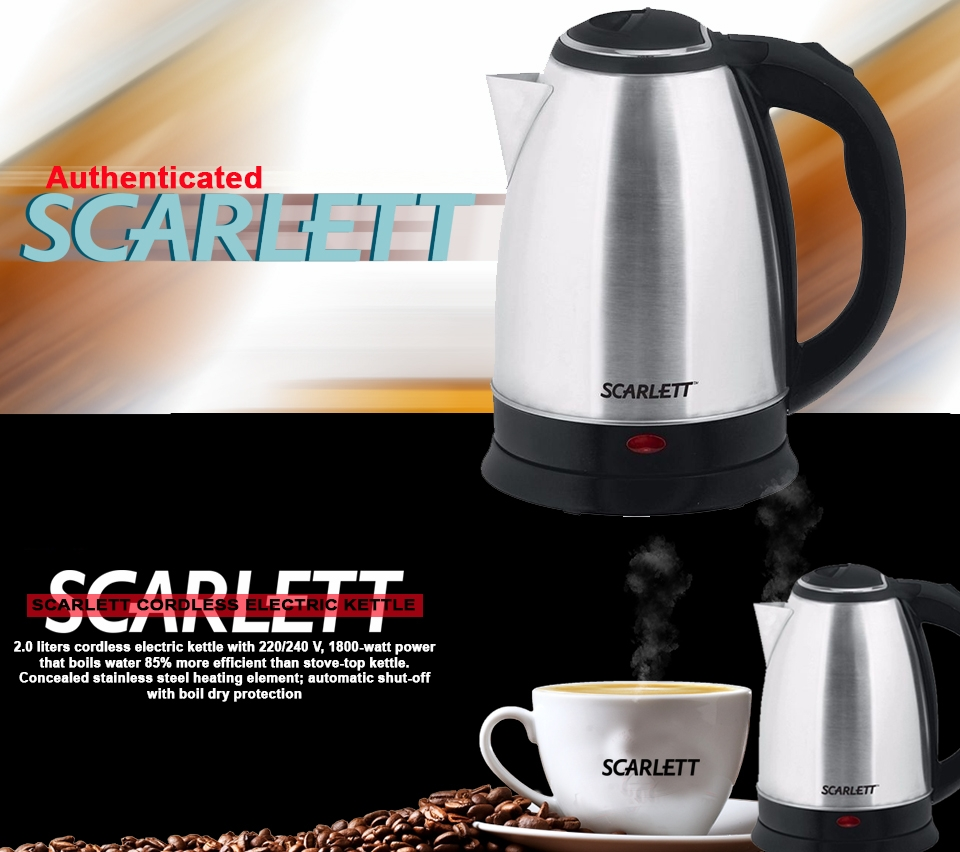 Scarlett Cordless Electric Kettle - 2.0 LITRES siver + Black 2.0 Litres SC-1838 Silver/Black 2ltrs 3
