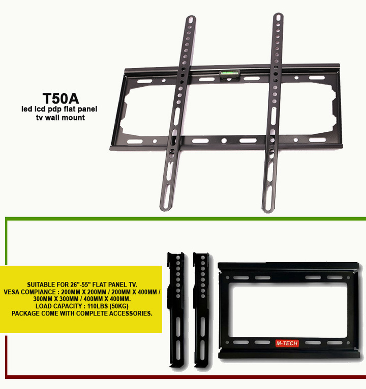 """FLAT PANEL TV WALL MOUNT-T50A SUITABLE FOR 26""""-55"""" black"""