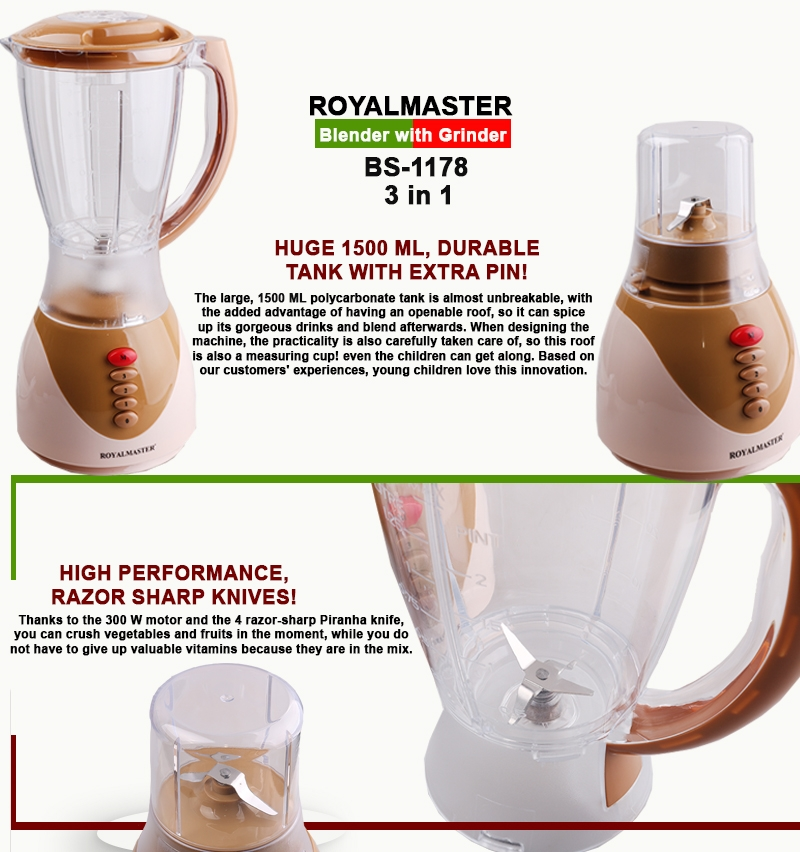 ROYAL MASTER BLENDER BS-1178 3in1 1.5ltrs WITH GRINDER as picture 2