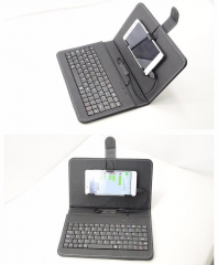 WANS 3in1 mobile phone case holder stand USB wired keyboard protector PU for Android OTG smartphones white 23*14*3cm