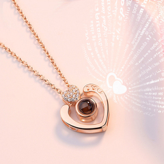 Double Heart/Round Shape 100 languages I love you Projection Pendant Necklace Shiny Zircon Wedding Double Heart/rose gold one size