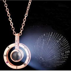 Round Shaped I LOVE YOU In 100 languages Projection Necklace Wedding Necklace Gift silver one size