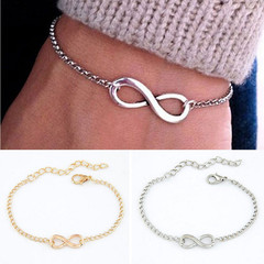 Popular Plating Gold Metal Cross Infinite Bracelet & Bangle Charm chain bracelets Jewelry For Women silver one size