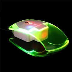 Hot New Promotion Small Special Shaped Transparent 2.4GHz Wireless Optical Luminous Mouse IN STOCK white one size