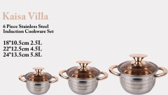 KAISA VILLA High Quality KV2004 Cookware Set Casserole with lid as picture 6pcs