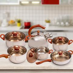 KAISA VILLA High Quality 6 pcs Cookware Set with Lid (KV1007) silver as the description