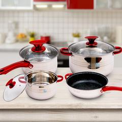KAISA VILLA High Quality 4 pcs Cookware Set (KV6604) silver as the description
