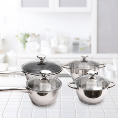 KAISA VILLA High Quality 4 pcs Cookware Set (KV6614) silver as the description
