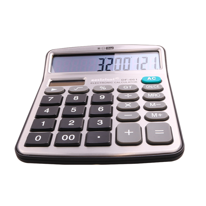 Transull Office Solar Calculator Battery or Solar 2 in 1 Powered 12 Digit Electronic (DF-661)