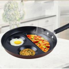 Transull Non-stick Pot Household Flat Bottom Small Frying Pan Smiley Pot Fried Egg Pot (BJP-JX26) black&rose red 26*35cm
