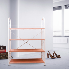 4 Layer Portable Wooden&Stainless Steel Shoe Rack(YH03-4) wooden color