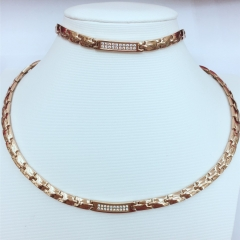 Stainless steel Fashion jewelry men and  women necklace and bracelet 2 set rose gold free