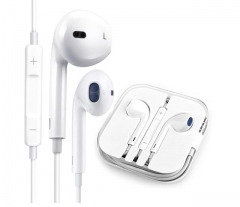 IPhone and android universal earphone with white line control mic White