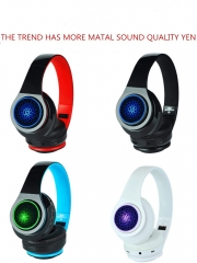 Bluetooth stereo headset  foldable headphone earphone for phone breath lamp white