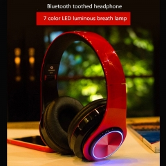 Wireless Bluetooth Stereo Headset Foldable Headphone Earphone for iPhone Android colorful  lamp white