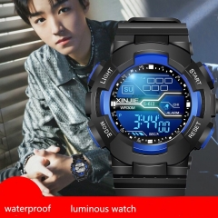 Men's smart watch 30M waterproof sport watch male clock colorful night glow black one size