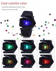 Multifunctional watch smart watch  waterproof sport watch LED quartz clock  clolrful  night  lamp black one size