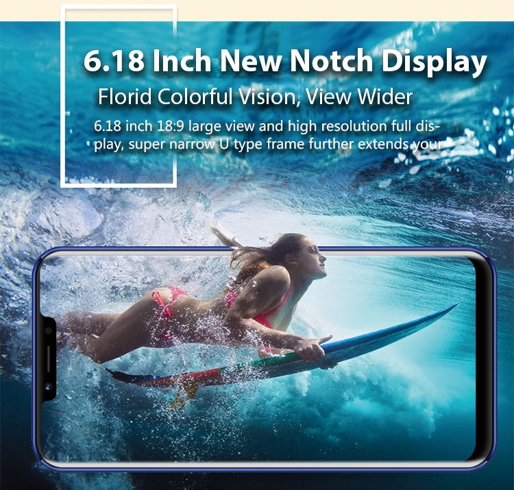 New mobile phone HS9+ 6.18Inch 3+32GB Powrrful 5000mAh 13+5MPbeauty camera Smart phone android 8.1 lake blue 4