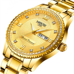fashion watchs men Non-mechanical Hollow Stainless Quartz Watch for smartwatch Stainless Steel gold one size