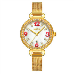Fashion watches women Non-mechanical Hollow Stainless Quartz Watch for smartwatch Gold+white normal