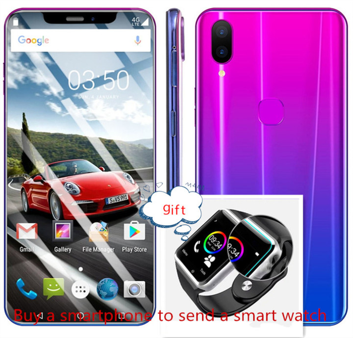 New mobile phone X21 Plus 6.2 Inch 4+64GB   16+8MP Smartphone android 8.1 gradient violet