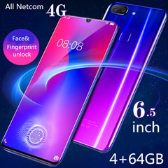 New mobile phone CET 6.5 Inch 4+64GB  Face&Fingerprint unlock 13+8MP Smartphone android 8.1 black