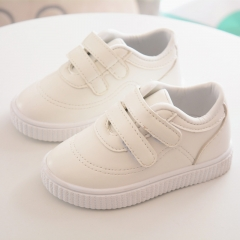 HiDook Children Comfortable Sports Shoes 1-3 Year Old Baby Toddler Soft Sole Velcro Leather Sneakers white 21