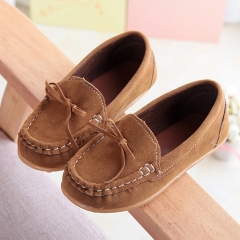 HiDook Children's Sports Suede Loafers Boys Girls Breathable Casual Single Flats Toddler Sneakers brown 21