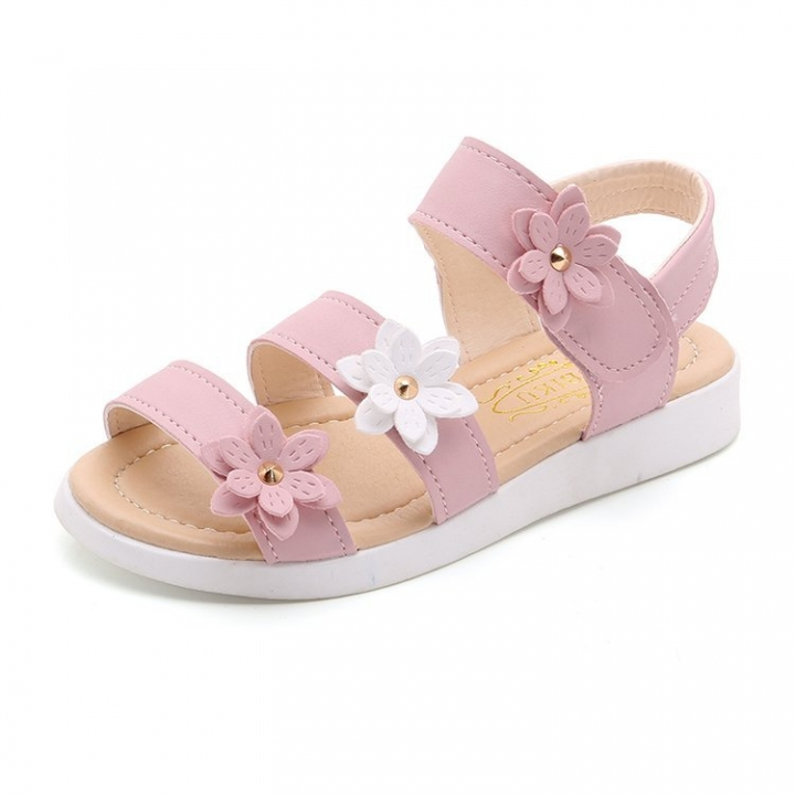 88b60a6a62bc2 Girls Princess Beautiful Flower Summer Style Sandals Kids student Flat  leisure casual sheet shoes pink 28