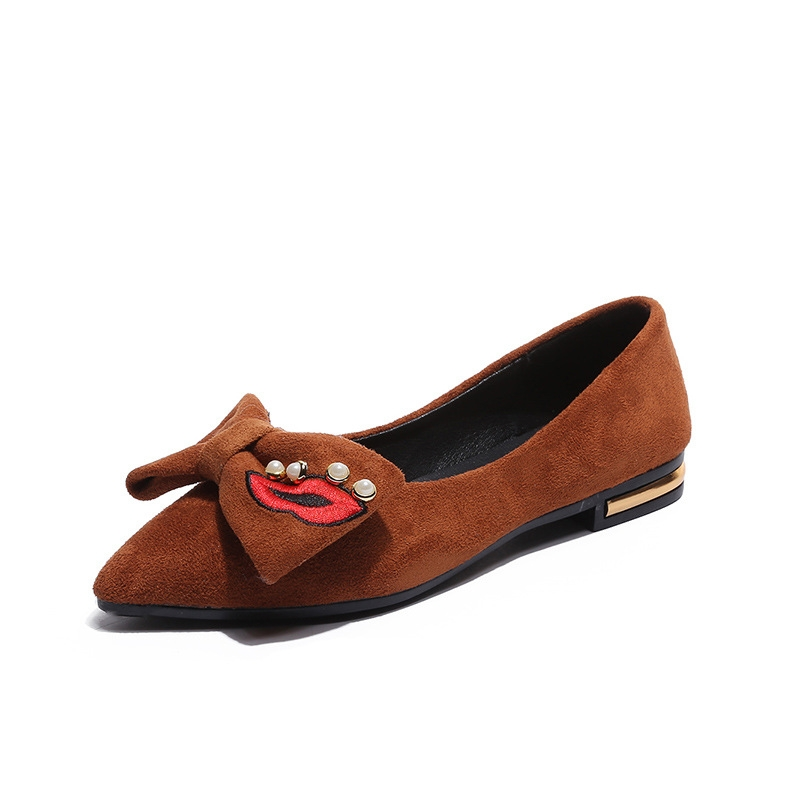 a441b4ae8a6 Women Suede Flats Casual pointed bow Ballerina Student dance Ladies Shoes  driving loafers dark brown 37  Product No  2817258. Item specifics  Brand